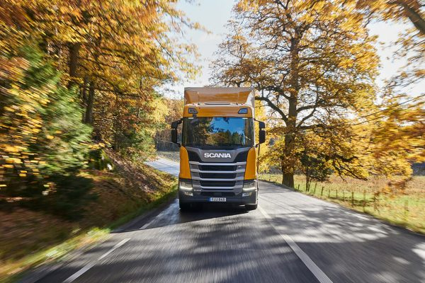 Truck driving on road with golden trees on each side